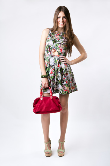 Fashion woman wearing a pretty spring dress