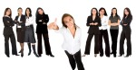 businesswoman with thumbs up and her team behind her isolated